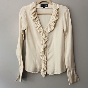 Kate Boggiano Designer Ruffle Long Sleeve Blouse